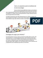 Estrategias Populares y No Populares Para La Enseñanza de La Música a Través de La Tecnología