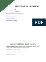 Características de La Papaya