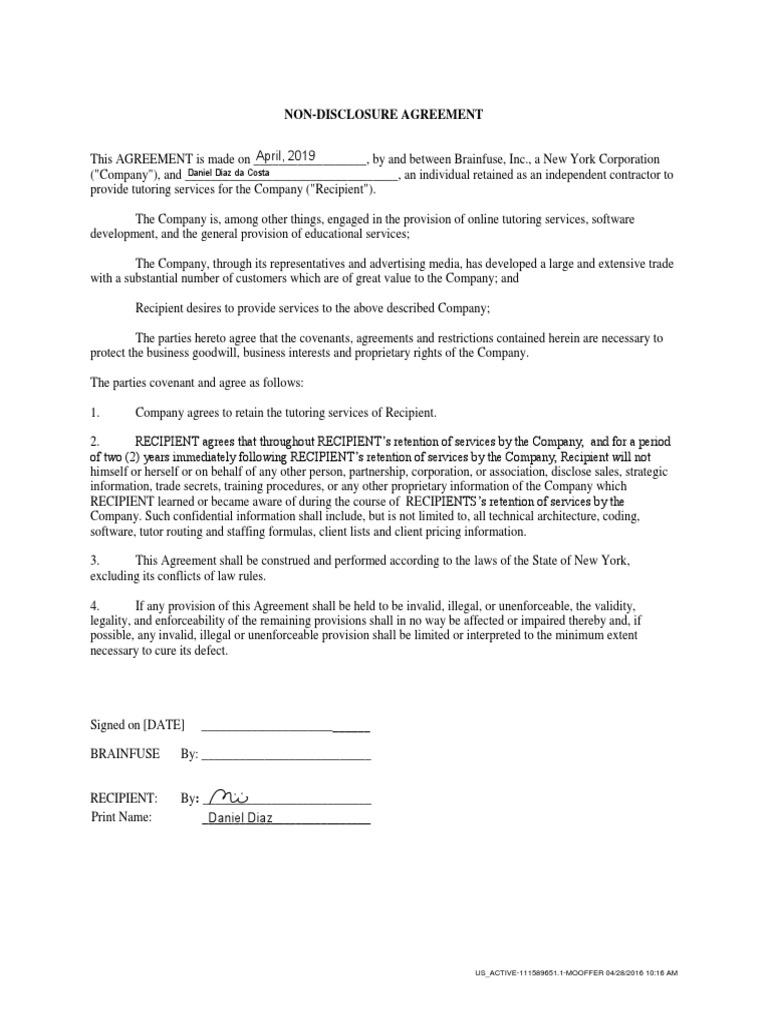 Non Disclosure Form Non Disclosure Agreement Common Law