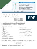2019 Nível 1 Lista 01 Operacoes Aritmeticas v01