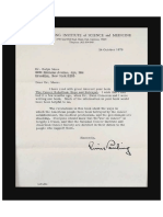 Linus Pauling Letter to Ralph Moss