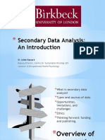 Secondary Data Analysis Introduction Workshop