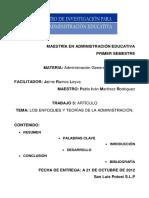 Investigación de los Enfoques y Teorias de La Administracion