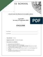 Sevenoaks School English Exam Paper Y9 2018