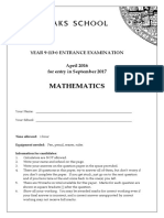 Sevenoaks School Exam Paper MATHS Entrance Year 9