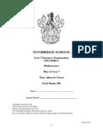 Tonbridge School Specimen Math Test Paper Y7
