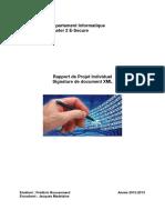Département Informatique Master 2 E-Secure. Rapport de Projet Individuel Signature de Document XML
