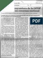 Frente a La Coyuntura de OPEP Se Requiere Conseso - El Nacional 20.01.1985