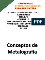 Untels Ciencias de Los Materiales Semana 9 Metalografia