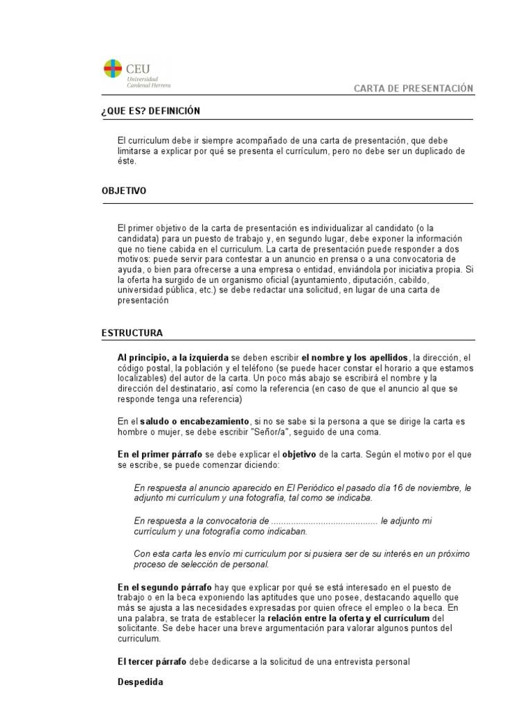 Atractivo Escribiendo Currículums Y Cartas De Presentación Friso ...