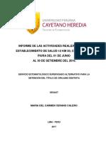 Informe de La Actividades Realizadas en El Establecimiento de Salud I-2 Km 50, Chulucanas, Piura Del 01 de Junio Al 30 de Setiembre Del 2016