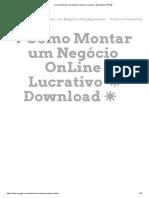 ✔Como Montar um Negócio OnLine Lucrativo ◢ Download PDF◣