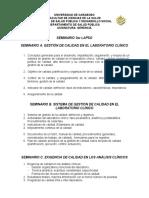 Tema 13. Seminarios. Gestión de La Calidad en El Laboratorio Clínico