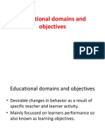 Educational domains and objectives