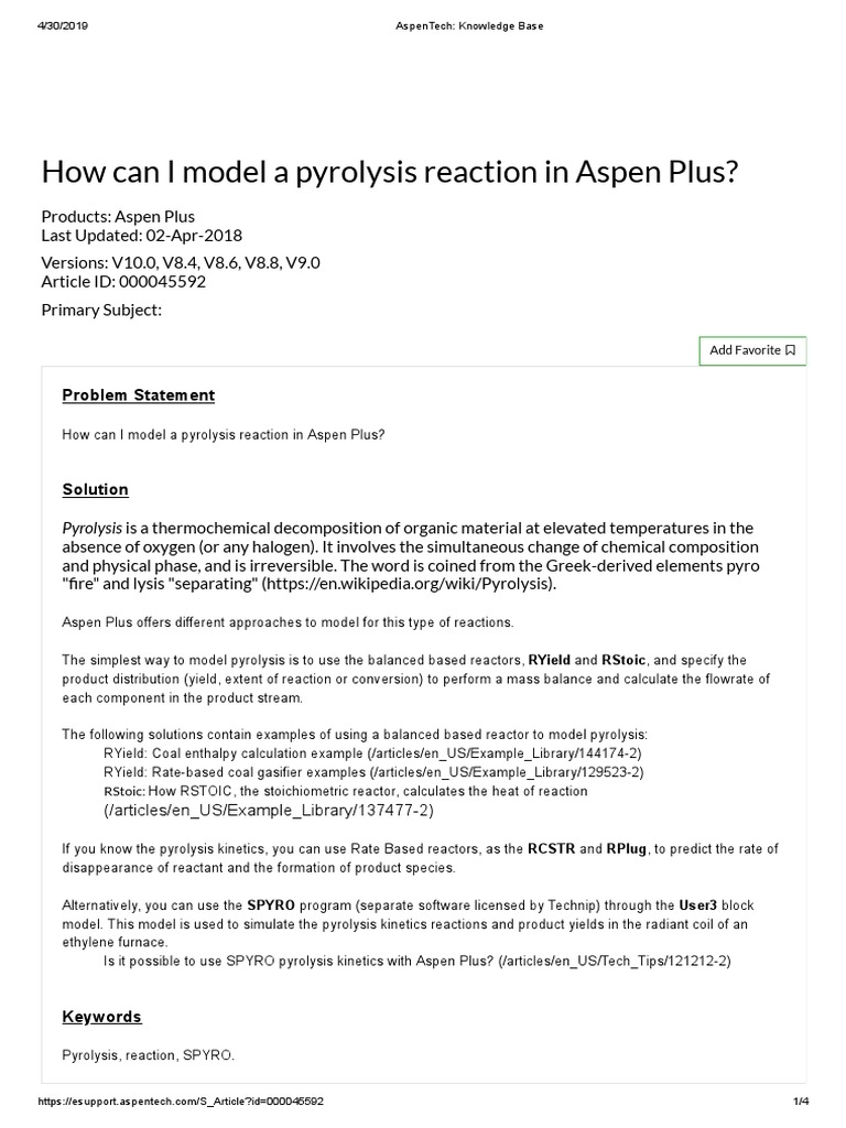 How can I model a pyrolysis reaction in Aspen Plus pdf