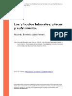 Ricardo Ernesto Juan Ferrari (2013). Los Vinculos Laborales Placer y Sufrimiento