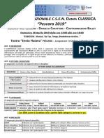 Regolamento Campionato Nazionale Csen Danza Classica 2019