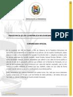 Comunicado de la Presidencia Encargada de la República