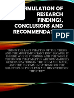 Formulation of Research Findings, Conclusions and Recommendation