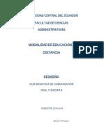 2019-2019- Rediseño- Guía Didáctica Uce - Comunicación Oral y Escrita