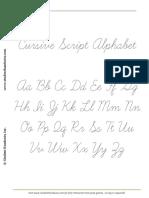 Cursive Script Alphabet Dashed