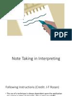 Note Taking in Interpreting