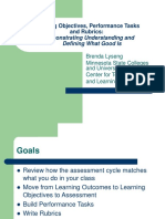Learning Objectives, Performance Tasks and Rubrics