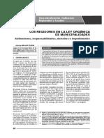 LOS REGIDORES EN LA LEY ORGÁNICA DE MUNICIPALIDADES
