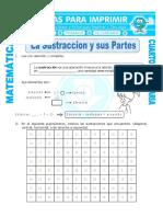 Ficha La Sustraccion y Sus Partes Para Cuarto de Primaria