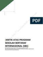Kritik Atas Program Sekolah Bertaraf Internasional (Sbi)