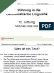 Einführung in die Germanistische Linguistik12-Textlinguistik