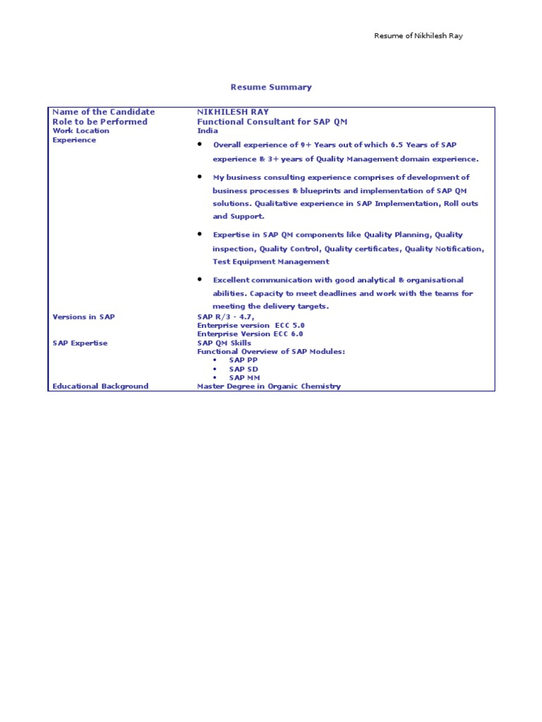 Sap Pp Functional Consultant Resume - nmdnconference.com - Example ...