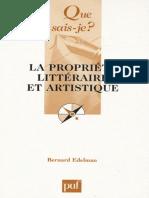 La Propriete Litteraire Et Arti - Bernard Edelman