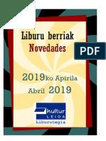 2019ko Apirileko liburu berriak -- Novedades de abril del 2019