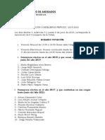 Nota Gremial, Colegio de AbogadosRenovación de Consejeros 2019