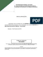 Declaração de vínculo Pesquisador Mestrando Universidade Federal