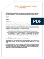 Esterilización y Pasteurización en Los Alimentos