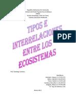 Tipos e Interrelaciones Entre Los Ecosistemas