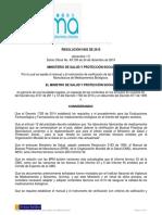RESOLUCIÓN 5402 de 2015 Manual y El Instrumento de Verificación de Las Buenas Prácticas de Manufactura de Medicamentos Biológicos