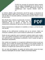 EVALUACIONES Ciclo Escolar 2018-2019