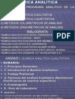 ANALÍTICA CLASES Química Analítica2007 IER SEMESTRE