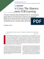 Stiggins, R. J. (2002). Assessment Crisis. the Absence of Assessment for Learning. Phi Delta Kappan, 83(10), 758-765