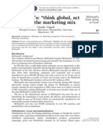 McDonald's _think Global, Act Local_ - The Marketing Mix