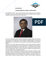 Press Release- Dana Incorporated Appoints Leader for Dana India