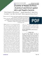 Antimicrobial activity of Mamica de Porca (Zanthoxylum rhoifolium Lam) Extract against Gram-positive and Negative bacteria
