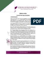Resolución del 03 de Mayo del 2019 del Supremo Consejo Grado 33° para la República del Perú