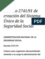 Decreto 2741_91 de Creación Del Sistema Único de La Seguridad Social - Wikisource