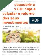 Como Descobrir a Taxa Do CDI Hoje e Calcular o Retorno Dos Seus Investimentos - O Primo Rico