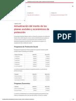 Actualización Del Monto de Los Planes Sociales y Económicos de Protección