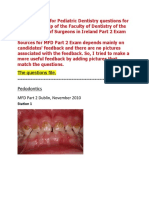 MFD Part 2 - Pediatric Dentistry Exams Questions
